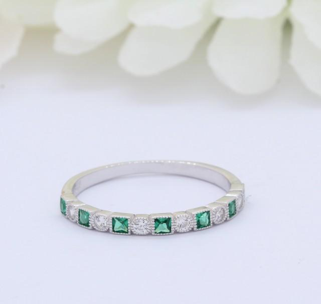 3mm Half Eternity Art Deco Wedding Band 925 Sterling Silver Round Square Princess Cut Emerald Green CZ Simulated Diamond CZ Alternating