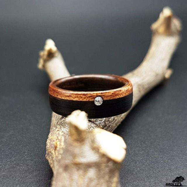 Wooden ring, black poplar and mahogany wood with a Swarovski crystal, black and brown ring, engagement ring, wedding ring, womens ring
