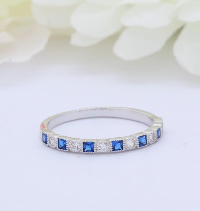 3mm Half Eternity Art Deco Wedding Band 925 Sterling Silver Round Square Princess Cut Blue Sapphire CZ Simulated Diamond CZ Alternating