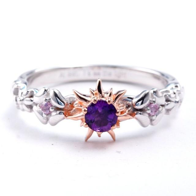 Rapunzel Natural Amethyst and Pink Sapphire Fairy Tale Engagement Ring Promise Ring Wedding Ring Cosplay Costume Jewelry