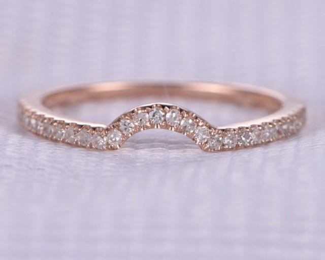 French Pave Natural Diamond Wedding Ring Anniversary Ring Curved 14k Rose Gold Half Eternity Matching Band Personalized for her/him Custom