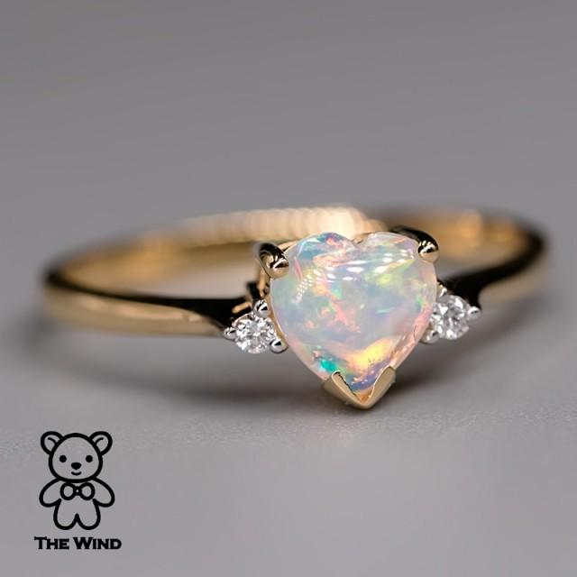 Heart Shaped Australian Solid Opal & Diamond Engagement Ring 18K Yellow Gold Promise Ring for Couples Three Stone Band