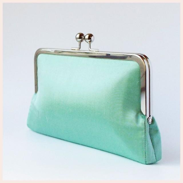 wedding clutch bag, green purse, mint silk handbag with chain, personalised Bridesmaids gift