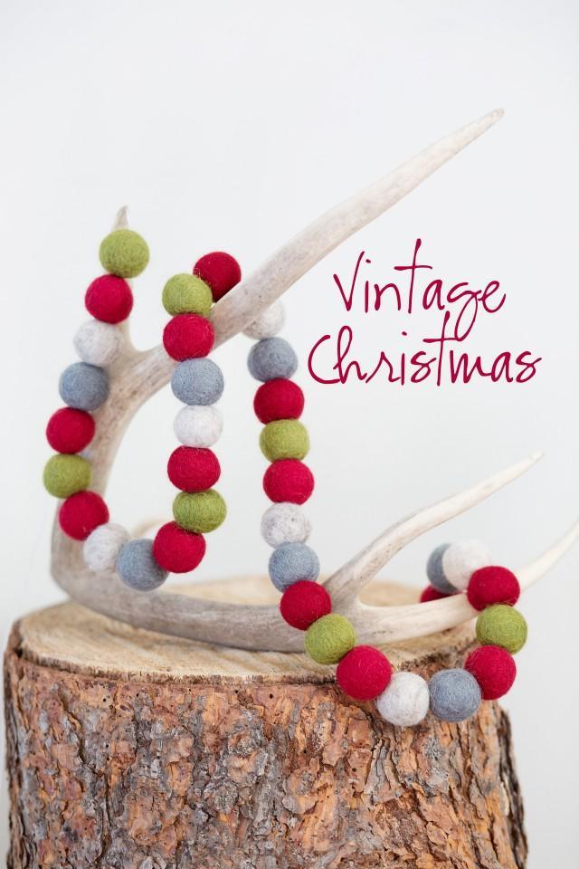 Vintage Christmas Garland -Rustic garland -Red, gray, olive, white Wool Felt Balls -Wool Pom Garland *Rustic Christmas -Felt ball garland