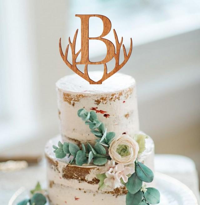 Monogram wedding cake topper, personalized cake topper, rustic wooden cake topper, antlers topper, single letter cake topper, cake decor