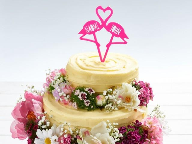 Flamingo Couples Cake Topper