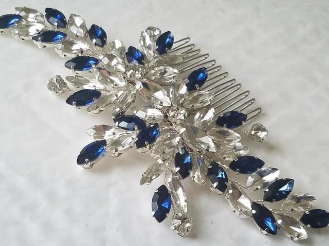 wedding photo - Navy Blue Clear Crystal Bridal Hair Comb, Blue Rhinestone Hair Piece, Dark Blue Crystal Floral Headpiece, Blue Hair Jewelry, Wedding Comb