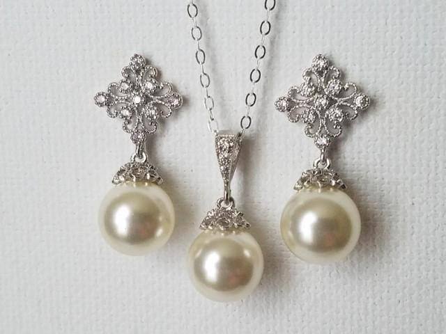 wedding photo - Bridal Pearl Jewelry Set, Swarovski Ivory Pearl Earrings Necklace Set, Pearl Drop Silver Bridal Set, Wedding Earrings, Ivory Pearl Pendant