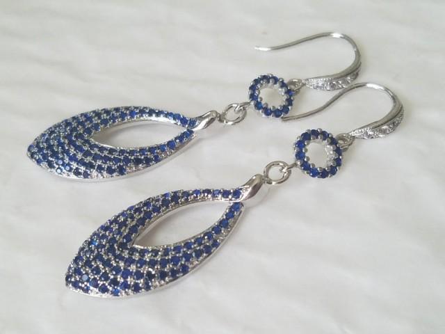 wedding photo - Blue Silver Long Earrings, Sapphire Blue Crystal Earrings, Cobalt Blue CZ Teardrop Earrings, Royal Blue Jewelry, Blue Leaf Dangle Earrings