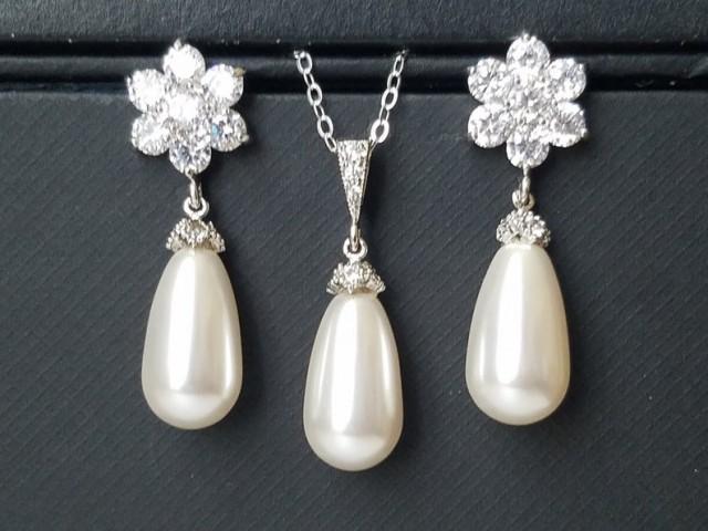 wedding photo - White Pearl Bridal jewelry Set, Swarovski White Pearl Earrings Necklace Set, Wedding Pearl Jewelry Set, Teardrop Pearl Silver Bridal Jewelry