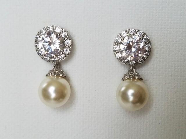 wedding photo - Pearl Wedding Earrings, Swarovski Ivory Pearl Silver Earrings, Bridal Pearl Cubic Zirconia Earrings, Pearl Bridal Jewelry, Wedding Jewelry