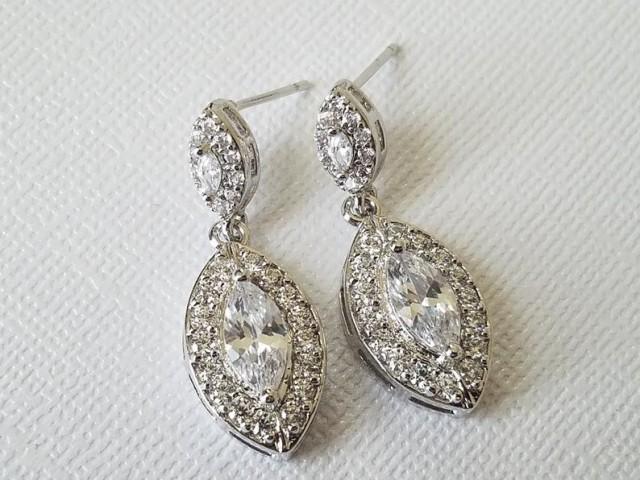 wedding photo - Crystal Bridal Earrings, Cubic Zirconia Marquise Earrings, Wedding Earrings, Cubic Zirconia Halo Earrings, Bridal Jewelry, Prom Jewelry