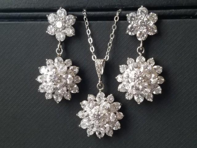wedding photo - Cubic Zirconia Bridal Jewelry Set, Crystal Flower Earrings Necklace Set, Wedding Jewelry Set, Bridal Crystal Jewelry, Sparkly CZ Jewelry Set