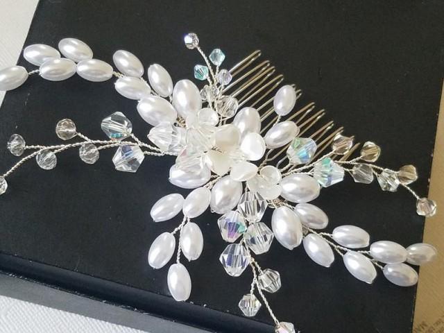 wedding photo - Bridal Hair Comb, Wedding White Pearl Crystal Hair Piece, Crystal Pearl Silver Headpiece, Bridal Hair Jewelry, Pearl Crystal Floral Comb