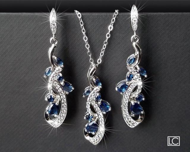 wedding photo - Navy Blue Bridal Jewelry Set, Blue Zirconia Earrings&Necklace Set, Wedding Jewelry Set, Sapphire Crystal Set Chandelier Earrings Pendant Set
