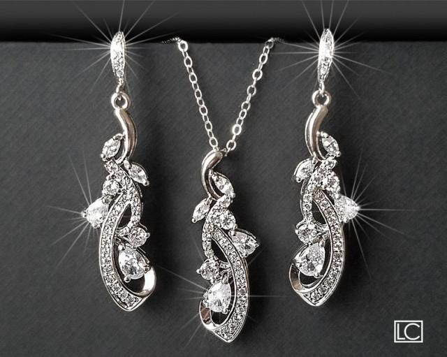wedding photo - Bridal Crystal Jewelry Set, Wedding Floral Earrings Necklace Set, Chandelier Earrings Pendant Set, Bridal CZ Jewelry Wedding Crystal Jewelry