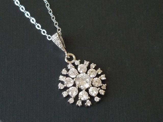 wedding photo - Cubic Zirconia Bridal Necklace, Wedding Crystal Necklace, Crystal Halo Sparkly Pendant, Bridal CZ Jewelry, Wedding Jewelry, Prom Necklace