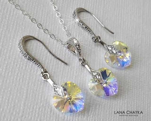 wedding photo - Heart Crystal Jewelry Set, Swarovski Aurora Borealis Earrings&Necklace Set, Crystal Heart Wedding Jewelry, Bridal AB Heart Jewelry