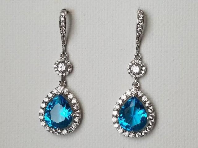 wedding photo - Blue Crystal Wedding Earrings, Aquamarine Teardrop Bridal Earrings, Aqua Blue Silver Chandelier Earrings, Wedding CZ Blue Dangle Earrings