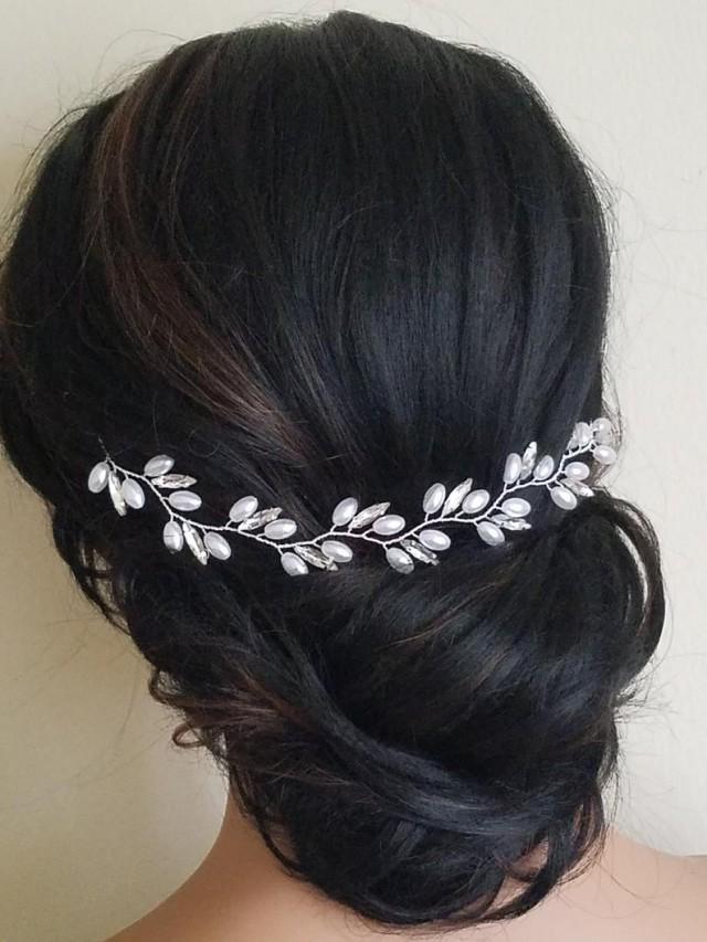 wedding photo - Wedding Pearl Crystal Hair Piece, Bridal Hair Vine, Wedding White Pearl Headpiece, Pearl Crystal Hair Jewelry Pearl Bridal Hair Accessories