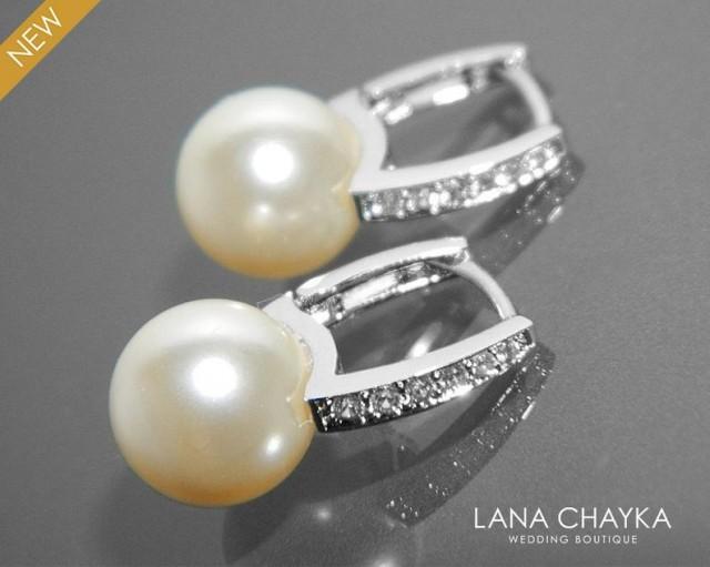 wedding photo - Bridal Pearl Earrings Pearl CZ Leverback Wedding Earrings Swarovski 10mm Ivory Pearl Silver Earrings Bridal Pearl Earring Bridesmaid Jewelry
