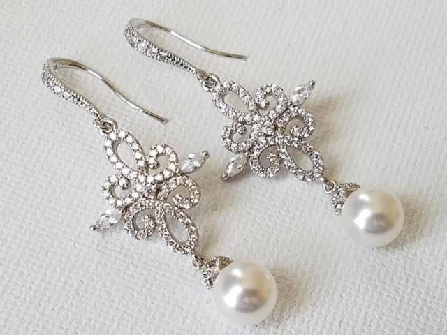 wedding photo - Chandelier Pearl Wedding Earrings, White Pearl Bridal Earrings, Swarovski Pearl Silver Earrings, Pearl Dangle Earrings, Statement Earrings
