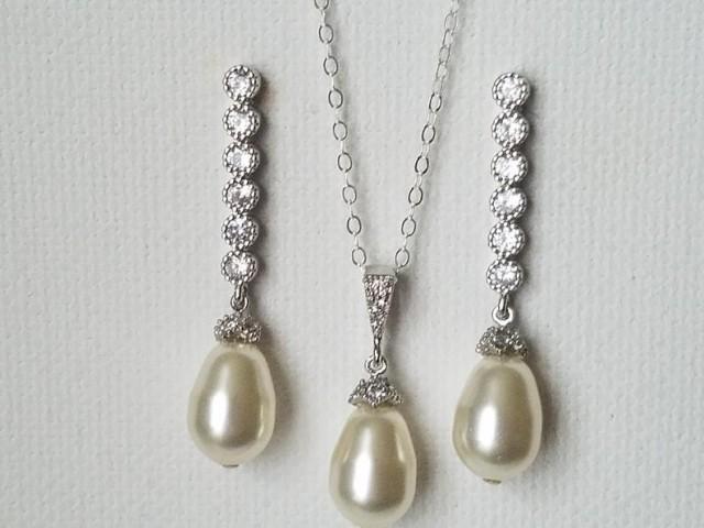 wedding photo - Wedding Pearl Jewelry Set, Swarovski Ivory Pearl Set, Teardrop Pearl Earrings Necklace Set, Wedding Bridal Pearl Jewelry, Bridal Party Gift