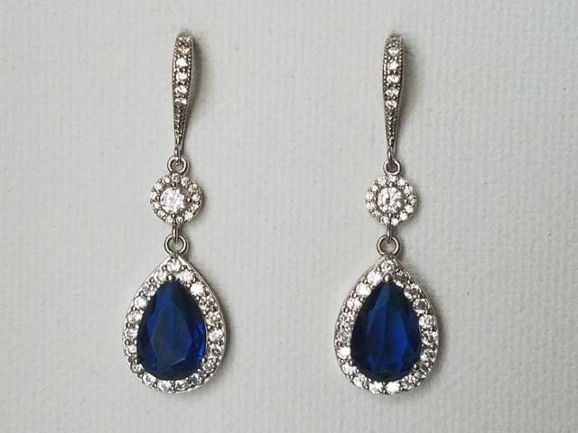 wedding photo - Blue Crystal Bridal Earrings, Wedding Sapphire CZ Halo Teardrop Earrings, Royal Blue Silver Dangle Earrings, Dark Blue Statement Earrings