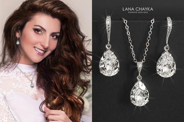 wedding photo - Crystal Bridal Jewelry Set, Clear Crystal Earrings&Necklace Set, Swarovski Crystal Jewelry Set, Wedding Bridesmaid Jewelry, Prom Crystal Set