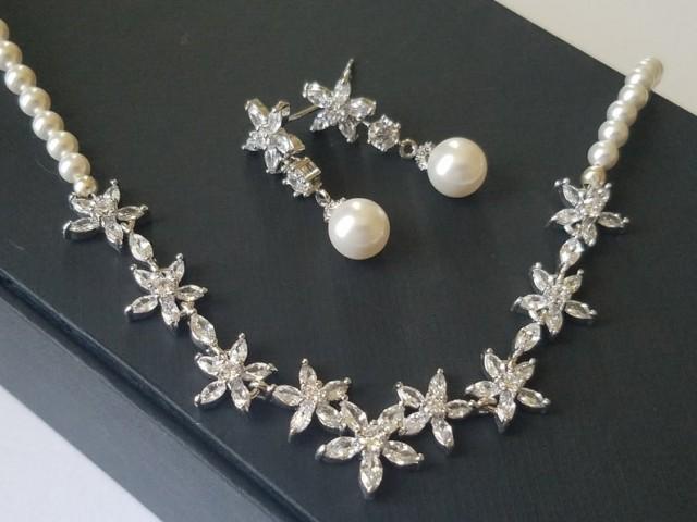 wedding photo - Pearl Bridal Jewelry Set, White Pearl Silver CZ Set, Swarovski White Pearl Set, Wedding Jewelry, Bridal Jewelry, Dainty Pearl Jewelry Set