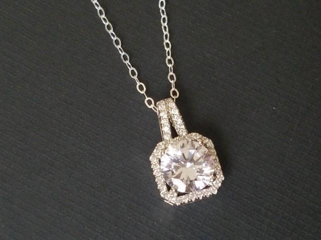 wedding photo - Cubic Zirconia Bridal Necklace, Crystal Halo Wedding Necklace, Cubic Zirconia Dainty Silver Necklace, Bridal Fashion Cubic Zirconia Jewelry