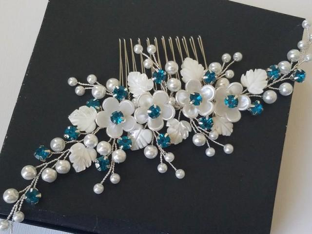 wedding photo - White Pearl Teal Crystal Hair Comb, Wedding Peacock Hair Piece, Bridal Pearl Crystal Headpiece, Teal Hair Jewelry, Pearl Flower Bridal Comb