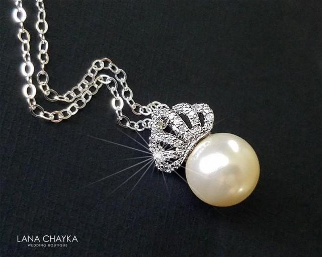 wedding photo - Pearl Crown Bridal Necklace, Swarovski Ivory Pearl Silver CZ Necklace, Bridal Pearl Jewelry, Wedding Tiara Necklace, Crown Pearl Necklace