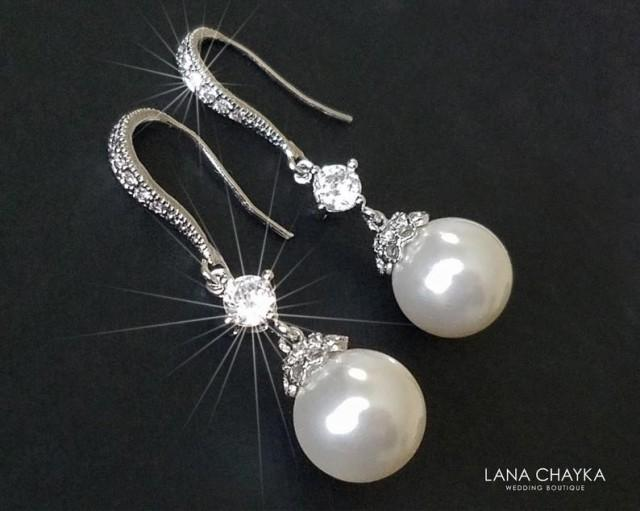 wedding photo - Pearl Bridal Earrings, Swarovski White Pearl Silver Earrings, Wedding Pearl Dangle Earrings, Pearl Bridal Jewelry, Pearl Chandelier Earrings