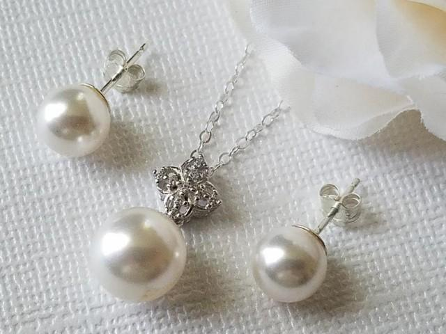 wedding photo - Pearl 925 Sterling Silver Bridal Jewelry Set, Swarovski White Pearl Earrings&Necklace Set White Pearl Studs Wedding Bridesmaid Pearl Jewelry