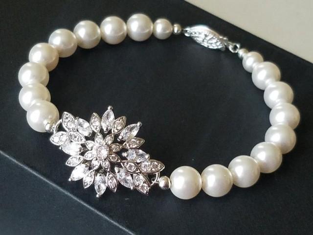 wedding photo - Pearl Bridal Bracelet, Swarovski White Pearl Cubic Zircon Bracelet, Vintage Style Wedding Bracelet, Statement Pearl Bracelet, Bridal Jewelry