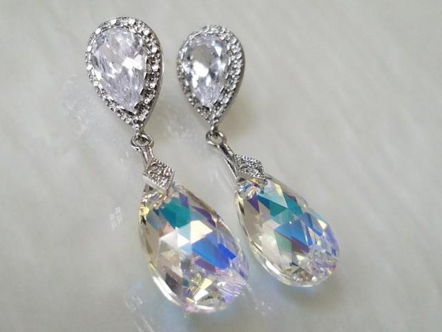 wedding photo - Aurora Borealis Crystal Earrings, Swarovski AB Crystal Silver Earrings, Wedding Bridal Crystal Earrings, Rainbow Teardrop Dangle Earrings