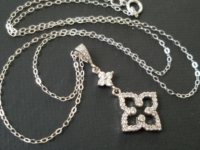 wedding photo - Cubic Zirconia Bridal Necklace, Crystal Silver Necklace, Wedding Zirconia Charm Necklace, Bridal Crystal Jewelry, Cubic Zirconia Pendant