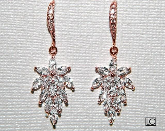 wedding photo - Rose Gold Cubic Zirconia Earrings, Cluster Leaf Crystal Earrings, Pink Gold Leaves Dangle Earrings Bridal Jewelry Rose Gold Wedding Jewelry