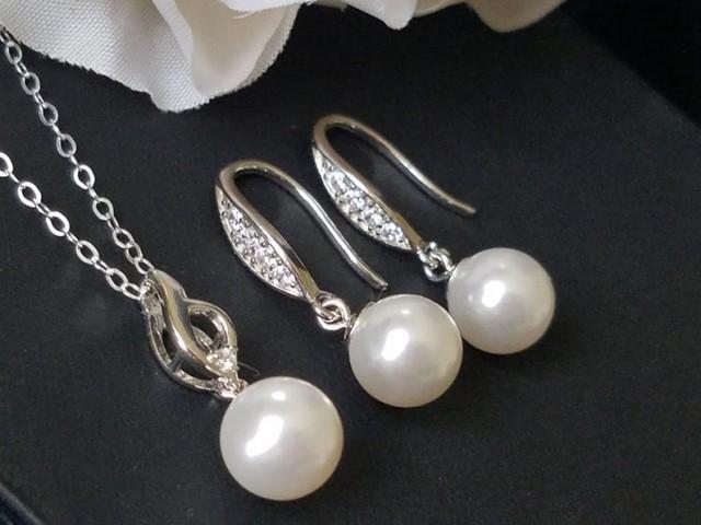 wedding photo - White Pearl Bridal Jewelry Set, Swarovski Pearl Drop Earrings&Necklace Set, Sterling Silver Pearl Wedding Set, Pearl Earrings, Pearl Pendant