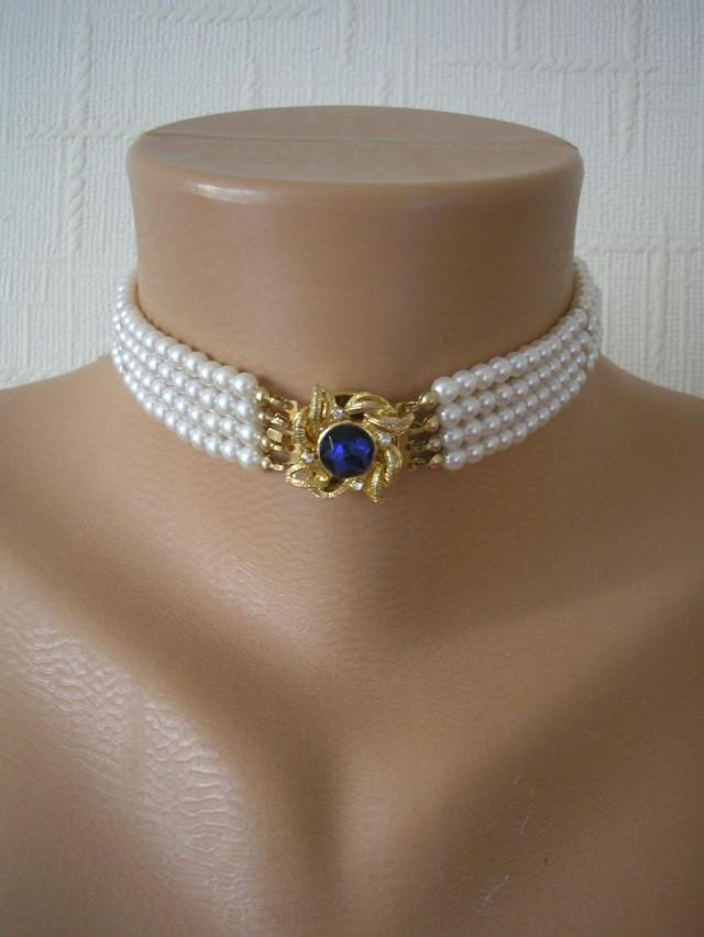 Vintage 4 Strand Pearl Choker, Vintage Pearls, Pearl And Sapphire Choker, White Pearl Choker, Mother Of The Bride, Pearl Bridal Choker, Deco