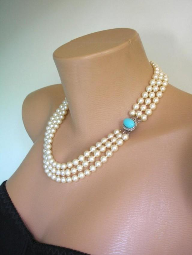 wedding photo - Vintage Pearl Necklace With Turquoise Clasp