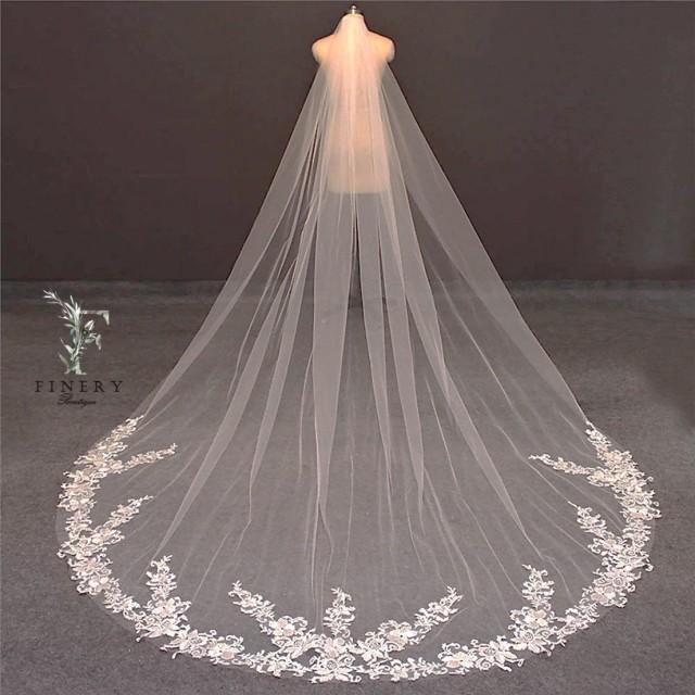 Light Ivory Cathedral Wedding Veil, Rose Lace Wedding Veil, Single Layer Wedding Veil, White Floral Lace Bridal Veil, Vintage Wedding Veil