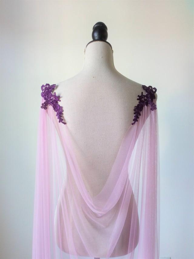 Purple Wedding Cape, Wedding Cloak, Purple Veil Cape, Shoulder Cape Veil, Wedding Cover Up, Long Shoulder Train, Purple Bridal Cape, Draped