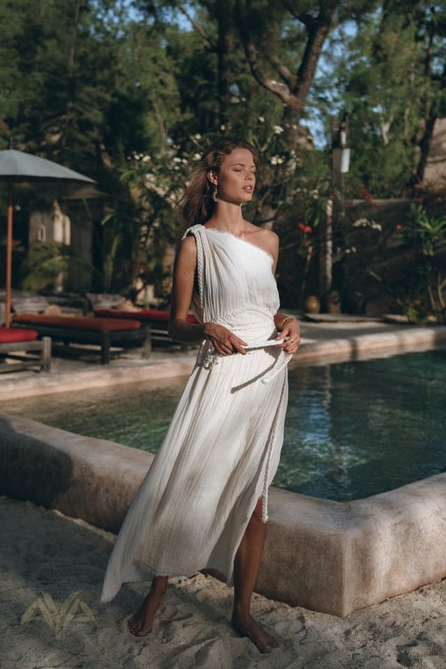 Greek Goddess Wedding Dress • Boho Bohemian Dress • Organic Cotton Bridesmaid Dress • Maxi One Shoulder Dress  • Off White Long Toga Dress