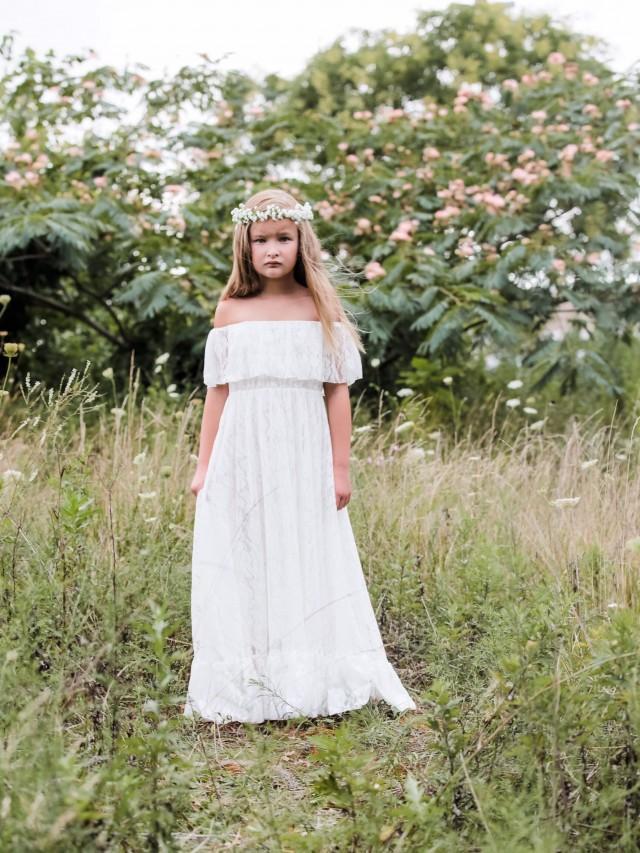 Vivian - white, lace, Flower Girl Dress, bapstism, communion dress, girls toddler dress
