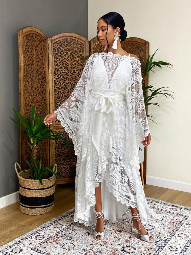 Wedding dress,boho wedding dress, 2 piece wedding dresses,lace wedding dress, caftan wedding dress, wedding separates, style GISELLE
