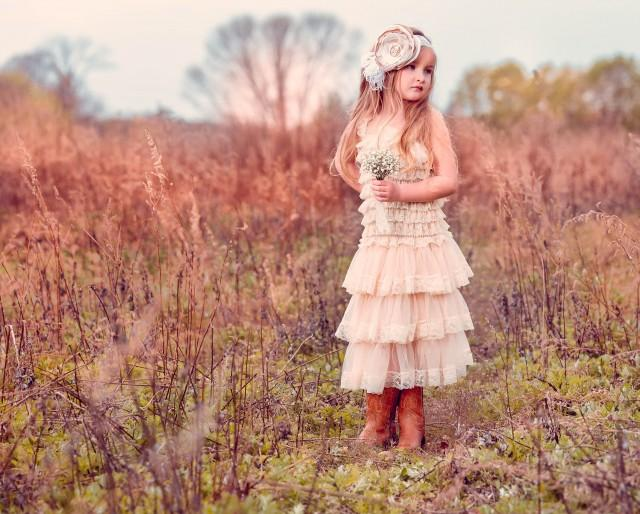 Hannah Flower Girl Dress, Rustic flower girl dress, Vintage Flower Girl Dress, ShabbyChic Girl, Ivory lace dress, country flower girl dress