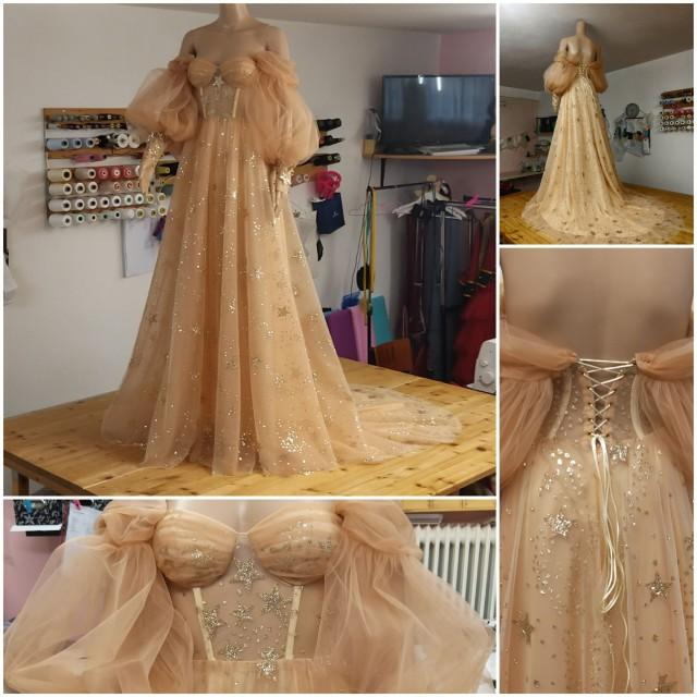 Star Dress,Star Wedding Dress,Gold Star Dress,Gold Dress,Celestial Wedding Dress