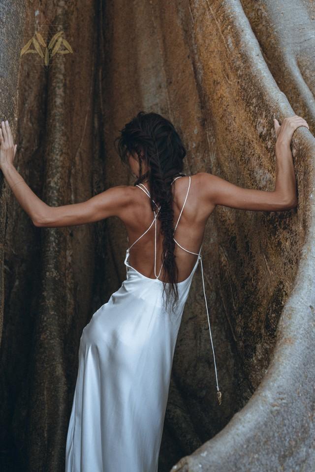 NEW! White Silk Simple Wedding Dress • Natural Silk Boho Dresses Women • Silk Long Maxi Dress • Low Open Back Slip Silk Dress White